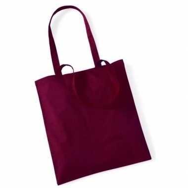100x katoenen schoudertassen draagtasje bordeaux rood 42 x 38 cm