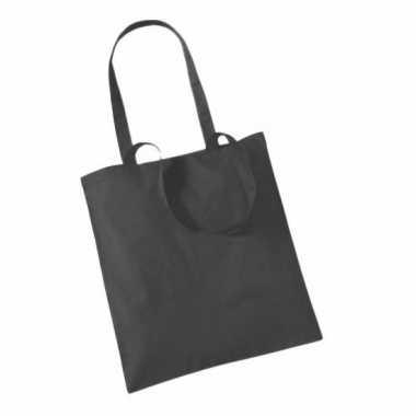 100x katoenen schoudertassen draagtasjes antraciet 42 x 38 cm