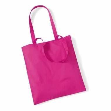 100x katoenen schoudertassen draagtasjes fuchsia 42 x 38 cm