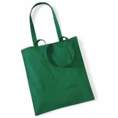 100x katoenen schoudertassen draagtasjes groen 42 x 38 cm