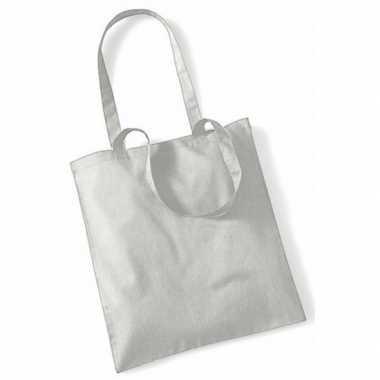 100x katoenen schoudertassen draagtasjes lichtgrijs 42 x 38 cm