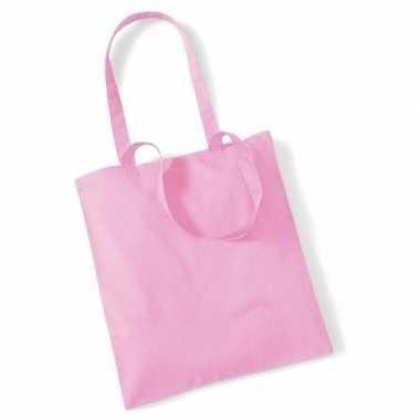 100x katoenen schoudertassen draagtasjes lichtroze 42 x 38 cm