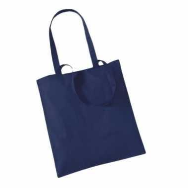 100x katoenen schoudertassen draagtasjes navy 42 x 38 cm