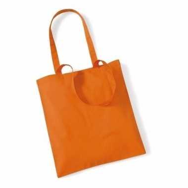 100x katoenen schoudertassen draagtasjes oranje 42 x 38 cm
