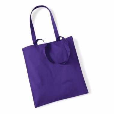 100x katoenen schoudertassen draagtasjes paars 42 x 38 cm