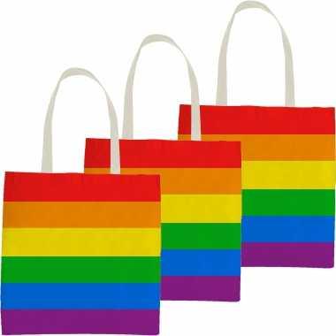 10x katoenen/canvas boodschappentasje/shopper regenboog/rainbow/pride vlag voor volwassenen en kids