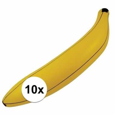 10x opblaasbare banaan/bananen 80 cm