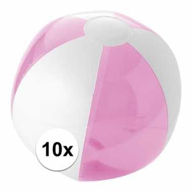 10x opblaasbare strandbal roze
