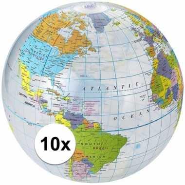 10x opblaasbare strandbal wereldbol