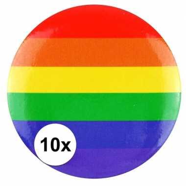 10x regenboog pride kleuren mini tas pin/broche 2 cm