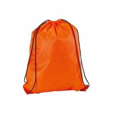 10x stuks neon oranje gymtassen/sporttassen met rijgkoord 34 x 42 cm