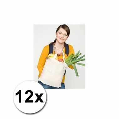 12 katoenen boodschappen tassen naturel