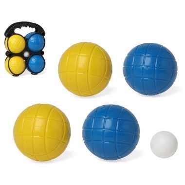 1x kleine jeu de boules sets met 4 gekleurde ballen in draagtas