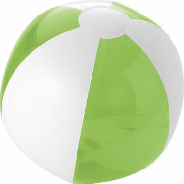 1x opblaasbare strandballen groen/wit 30 cm