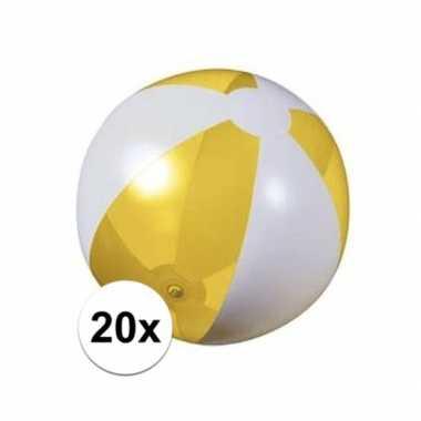 20x opblaasbare strandbal geel