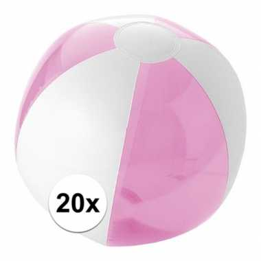 20x opblaasbare strandbal roze