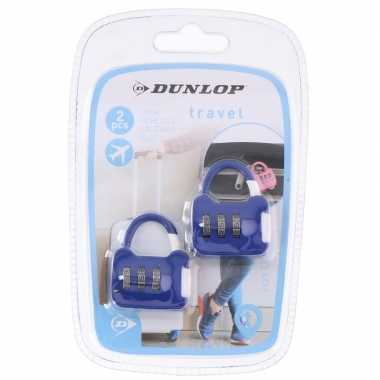 2x blauwe reistassen bagagesloten met cijferslot