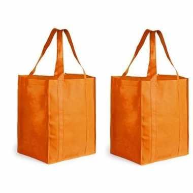 2x boodschappen tas/shopper oranje 38 cm