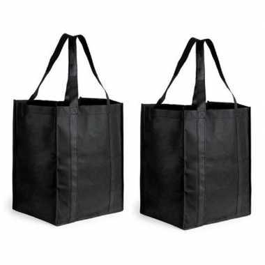 2x boodschappen tas/shopper zwart 38 cm