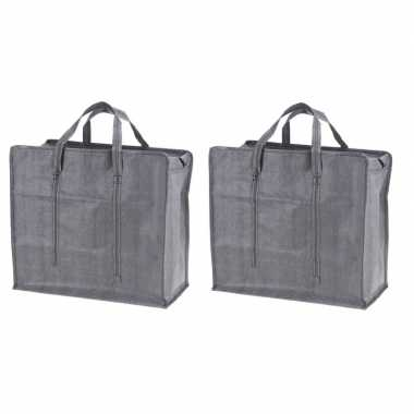 2x grijze mega boodschappentassen/shoppers 60 cm