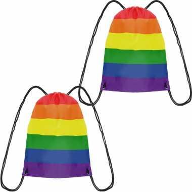 2x gymtasje/rugtas rijgkoord regenboog/rainbow/pride vlag voor volwassenen en kids