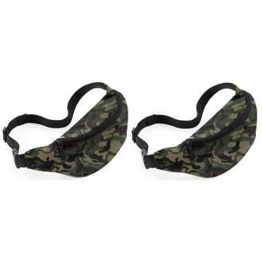2x heuptasjes/buideltasjes camouflage/leger print 38 cm
