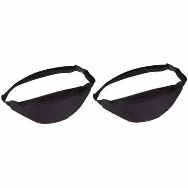 2x heuptasjes/buideltasjes/fanny pack zwart 35 cm