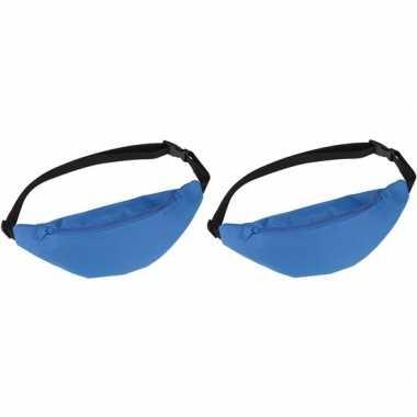 2x heuptasjes/buideltasjes/fanny packs blauw 35 cm