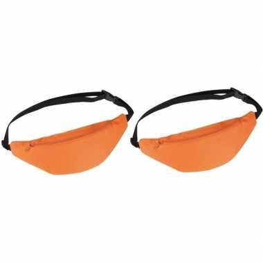 2x heuptasjes/buideltasjes/fanny packs oranje 35 cm