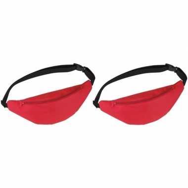 2x heuptasjes/buideltasjes/fanny packs rood 35 cm