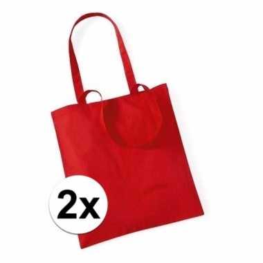 2x katoenen tasjes rood 42 x 38 cm