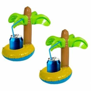 2x opblaasbare drankhouders palmboom 22 cm