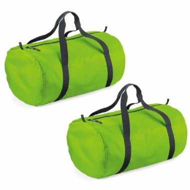 2x stuks lime groene ronde polyester sporttas/weekendtas 50 x 30 x 26 cm