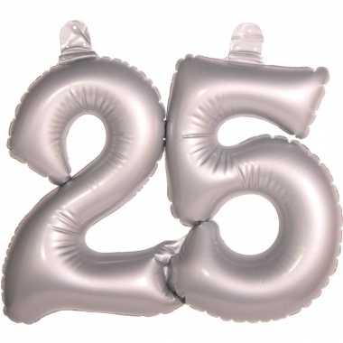 2x stuks opblaasbare 25 jaar vorm jubileum zilver versiering