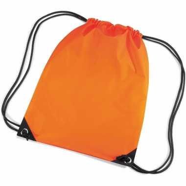 2x stuks oranje gymtas/ gymtasjes met rijgkoord 45 x 34 cm