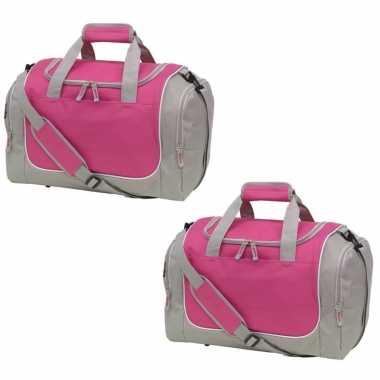 2x stuks sporttas/reistas grijs/roze met schoenenvak 38 liter