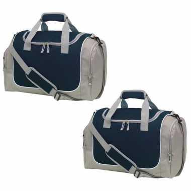 2x stuks sporttas/reistas grijs/zwart met schoenenvak 38 liter
