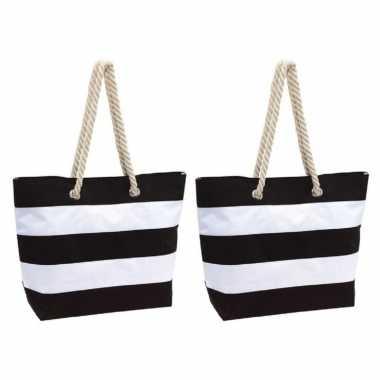 2x stuks strandtas gestreept zwart/wit 47 cm