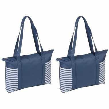 2x stuks strandtas/shopper blauw/wit met streepmotief 44 cm