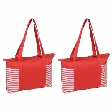 2x stuks strandtas/shopper rood/wit met streepmotief 44 cm