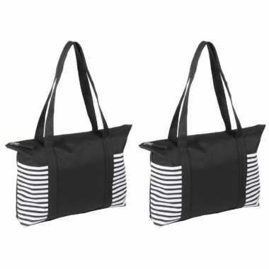 2x stuks strandtas/shopper zwart/wit met streepmotief 44 cm