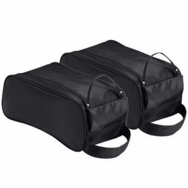 2x stuks zwarte schoenentas/reistas 9 liter 35 x 18 x 16 cm