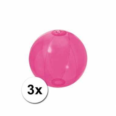 3 opblaasbare strandballen fel roze 30 cm