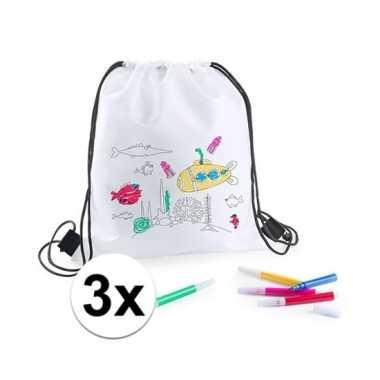 3 witte gymtassen met stiften