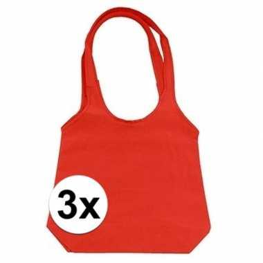 3 x rode opvouwbare tassen/shoppers