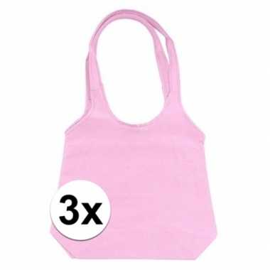 3 x roze opvouwbare tassen/shoppers