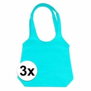 3 x turquoise opvouwbare tassen/shopper