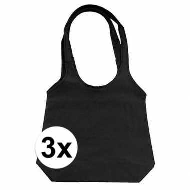 3 x zwarte opvouwbare tassen/shoppers