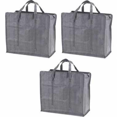 3x grijze mega boodschappentassen/shoppers 60 cm