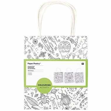 3x knutsel papieren tassen tasjes om in te kleuren voor kinderen